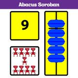 Abacus Soroban kids learn numbers with abacus, math worksheet for children Vector Illustration.  stock illustration