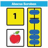 Abacus Soroban kids learn numbers with abacus, math worksheet for children. Vector Illustration Royalty Free Stock Photo