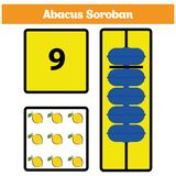 Abacus Soroban kids learn numbers with abacus, math worksheet for children. Vector Illustration Royalty Free Stock Photography