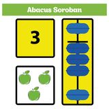 Abacus Soroban kids learn numbers with abacus, math worksheet for children Vector Illustration.  Stock Photo