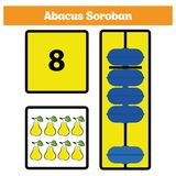 Abacus Soroban kids learn numbers with abacus, math worksheet for children Vector Illustration.  Royalty Free Stock Images