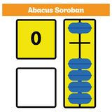 Abacus Soroban kids learn numbers with abacus, math worksheet for children Vector Illustration.  Royalty Free Stock Photo