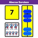 Abacus Soroban kids learn numbers with abacus, math worksheet for children Vector Illustration.  vector illustration