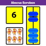 Abacus Soroban kids learn numbers with abacus, math worksheet for children Vector Illustration.  royalty free illustration