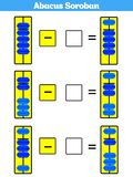 Abacus Soroban kids learn numbers with abacus math worksheet for children Vector Illustration. Abacus Soroban kids learn numbers with abacus, math worksheet for royalty free illustration