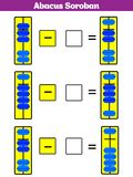 Abacus Soroban kids learn numbers with abacus math worksheet for children Vector Illustration. Abacus Soroban kids learn numbers with abacus, math worksheet for stock illustration