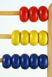 Abacus vertical. Childrens abacus - calculator with all beads at one side, vertical close up royalty free stock image