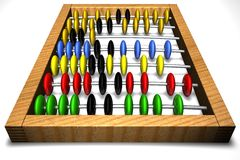 Abacus on a white background. With multi-coloured counters Stock Photos