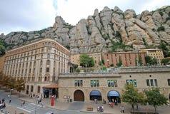 Abadía benedictina Santa Maria de Montserrat en Monistrol de Montserrat, España Foto de archivo