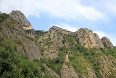 Abadía benedictina Santa Maria de Montserrat en Monistrol de Montserrat, España Fotos de archivo