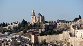 Abadía de Dormition en el monte Sion, Jerusalén, Israel Imágenes de archivo libres de regalías
