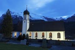 Abadía de Engelberg en la puesta del sol Imagen de archivo libre de regalías