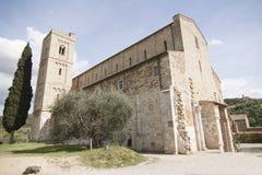 Abadía de la abadía de Antimo Castelnuovo Abate Montalcino Siena Toscana Italia del ` de Sant del ` Antimo Castelnuovo Abate Mont Imágenes de archivo libres de regalías