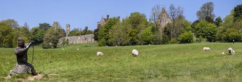 Abadía de la batalla y batalla del panorama del campo de batalla de Hastings Imágenes de archivo libres de regalías