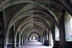 Abadía de las fuentes. Arcos y cámaras acorazadas en la niebla. Imagen de archivo