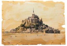 Abadía de Mont Saint Michel del vintage Fotografía de archivo