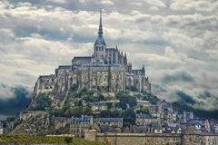 Abadía de Mont Saint-Michel en Francia Foto de archivo libre de regalías