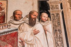 Abadía de Monte Oliveto Maggiore, Toscana, Italia Imágenes de archivo libres de regalías
