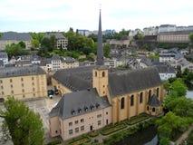 Abadía de Neumunster, señal hermosa en la ciudad más baja de Grund de la ciudad de Luxemburgo Foto de archivo libre de regalías