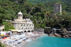 Abadía de San Fruttuoso, Camogli, Liguria, Italia Imagenes de archivo