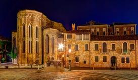 Abadía de San Gregorio en Venecia en la noche Imágenes de archivo libres de regalías