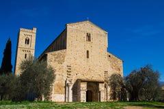 Abadía de Sant'Antimo cerca de Montalcino, Toscana Foto de archivo libre de regalías