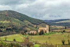 Abadía de Sant Antimo, Italia Fotografía de archivo libre de regalías