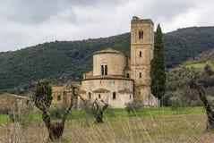 Abadía de Sant Antimo, Italia Imagenes de archivo