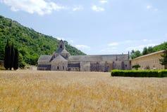 Abadía de Senanque con el trigo clasifiado Imagen de archivo