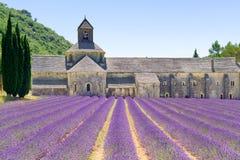 Abadía de Senanque y de la lavanda. Provence, franco Fotos de archivo