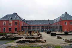 Abadía de Stavelot en Bélgica con las ruinas Foto de archivo libre de regalías