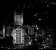 Abadía del baño en la noche de las colinas sobre la ciudad del baño Fotografía de archivo