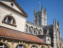 Abadía del baño una señal famosa en la ciudad del baño en Somerset England Fotografía de archivo libre de regalías
