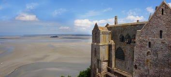 Abadía del Saint Michel de Mont Paisaje en Normandía Imagen de archivo