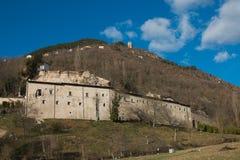 Abadía destruida por terremoto, Umbría de Eutizio del ` de Sant Imagen de archivo
