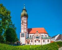 Abadía en verano, distrito de Starnberg, Baviera superior, Alemania de Andechs Fotos de archivo