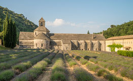 Abadía escénica de Senanque y campo floreciente de la lavanda en la región de Provence de Francia Imágenes de archivo libres de regalías