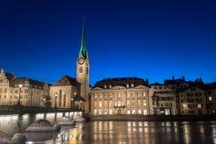 Abadía imperial de Fraumunster Reichskloster Fraumunster, Zurich Suiza Foto de archivo libre de regalías