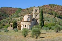 Abadía medieval de San Antimo en un día soleado Toscana, Italia Fotos de archivo