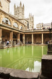 Abadía y Roman Baths del baño Baño, Somerset, Inglaterra Fotografía de archivo