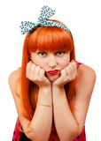 Abadejo hermoso de la mujer joven sus labios Foto de archivo libre de regalías