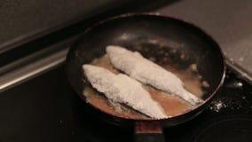 Abadejos empanados que son fritos en una cacerola almacen de video