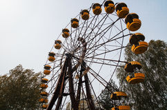 Abadonrd ferris wheel in Pripyat ghost town in Chernobyl exclusi Royalty Free Stock Photos