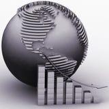 Abaissant le diagramme avec un indicateur sur un fond un globe Image stock