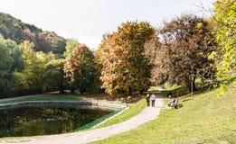 Abaissez l'étang dans la réservation de musée de Kolomenskoye Photos libres de droits