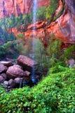 Abaissez la cascade à écriture ligne par ligne verte Utah de regroupement Image libre de droits