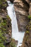 Abaissez la chute de Johnston Canyon I Photos stock