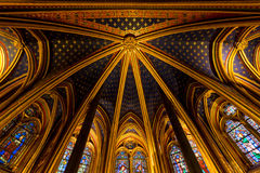Abaissez le plafond de chapelle, Sainte Chapelle, Paris, France Photographie stock
