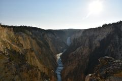 Abaissez les automnes au stationnement national de Yellowstone Photo stock