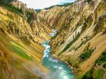 Abaissez les automnes dans Yellowstone Image libre de droits